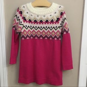 Gymboree Hot Pink Argyle Sweater Dress Girl Size 5